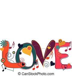 El texto del amor en hippy brilla