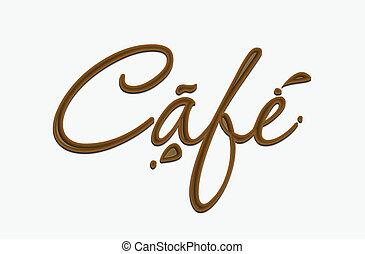 El texto del café de chocolate