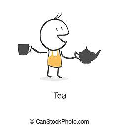 El tipo bebe té