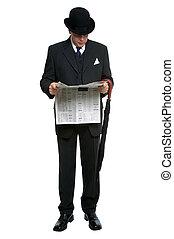 El tipo de la ciudad leyendo el periódico