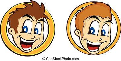 El tipo feliz sonríe caricatura