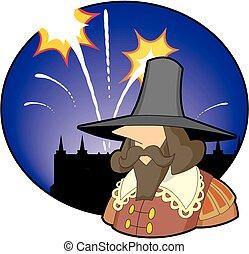 El tipo hace fawkes con fuegos artificiales