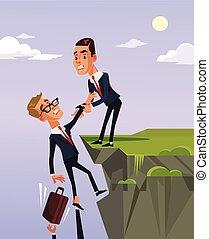 El trabajador de la oficina le da a su colega ayuda y ayuda a salir de la crisis financiera. Ilustración plana de dibujos animados