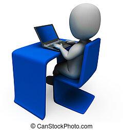El trabajador de la oficina y la computadora muestran escribiendo