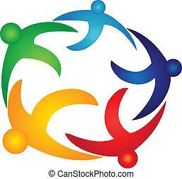 El trabajo de equipo de la gente global del logo vector