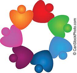 El trabajo en equipo calienta el logotipo de colores vivos