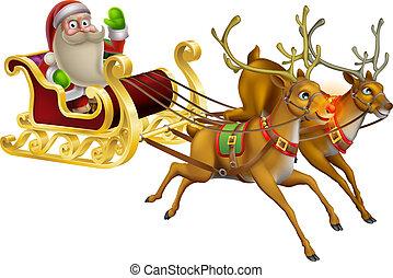 El trineo de Navidad de Santa Claus
