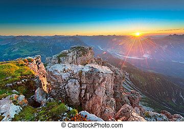 el tyrol, montañas rocosas, rayos de sol, austria, mientras, ocaso