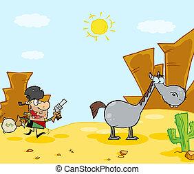 El vaquero escapa a su caballo