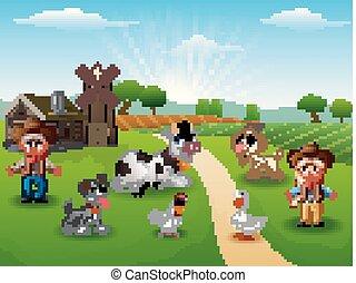 El vaquero y la vaquera en la granja con animales en la mañana