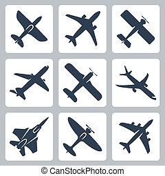 El vector aisló iconos del avión