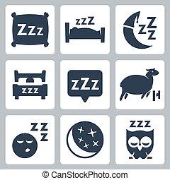 El vector aisló iconos del sueño: almohada, cama, luna, oveja, búho, zzz