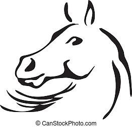 El vector blanco y negro esboza de caballo