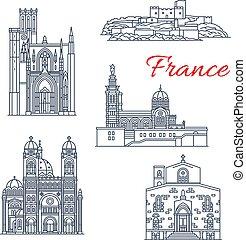 El vector de Francia marca iconos de línea de Marsella