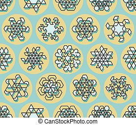 El vector de línea de arte sin costura compensa la forma geométrica de copos de nieve en el fondo del círculo amarillo