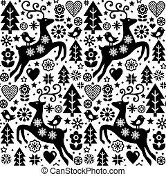 El vector de la Navidad del estilo folclórico es escandinavo diseño en blanco y negro, renos, aves