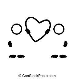 El vector del arte negro del corazón ilustra la ilustración de la silueta