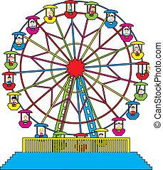 El vector Ferris rueda con niños felices