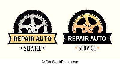 El vector firma el letrero, estandarte y logotipo de reparación de autos y neumáticos.