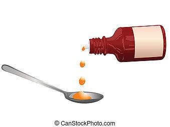 El vector ilustra una botella con una medicina y una cuchara