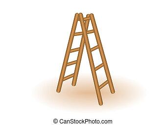 El vector ilustra una escalera de madera