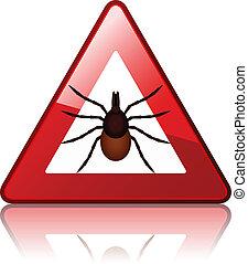 El vector Ixodes Ricinus marca de advertencia