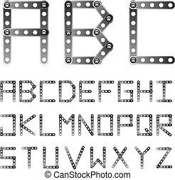 El vector metal arruinó la letra alfabética