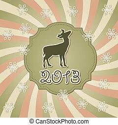El vector nuevo año tarjeta de felicitación con ciervos