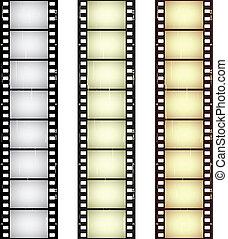 El vector rasguñó tiras de película sin costura