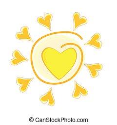 El vector solar ilustra con el corazón