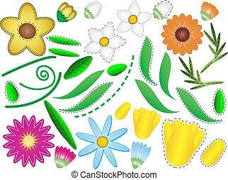 El vector tiene 8 flores y hojas