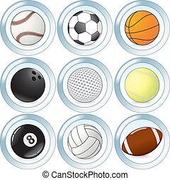 El vector tiene botones con pelotas deportivas