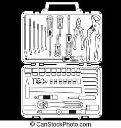 El vector tiene diferentes herramientas en una caja