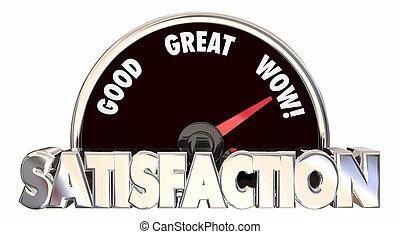 El velocímetro de nivel de satisfacción mide las palabras de placer de la felicidad