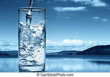 el verter, naturaleza, contra, cristal del agua, plano de fondo