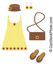 El vestido de la dama y los accesorios