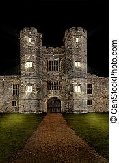 El viejo castillo de noche con luces doo