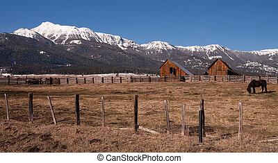El viejo establo de caballos soporta la montaña invernal Wallowa whitman nacional
