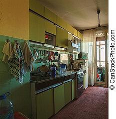 El viejo interior de la cocina