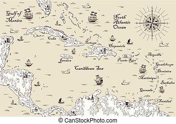 El viejo mapa del mar Caribe, ilustración vectorial