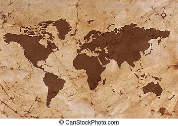 El viejo mapa del mundo sobre papel arrugado y manchado