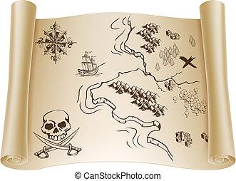 El viejo mapa del tesoro en pergamino