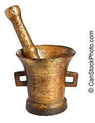 El viejo mortero de bronce