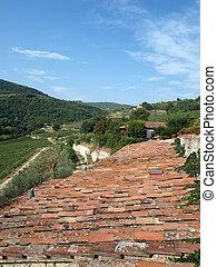 El viejo techo de la villa tosca entre viñedos y olivares