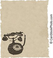 El viejo teléfono del vector en papel marrón