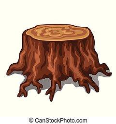 El viejo tronco de un árbol con raíces aisladas en el fondo blanco. Ilustración de vectores.