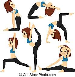 El yoga posa para la chica
