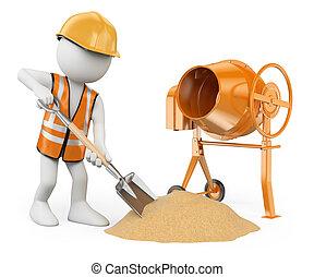 elaboración, construcción, fondo., pala, concreto, aislado, personas., batidora, trabajador, 3d, cemento, blanco