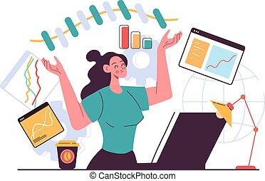 elaboración, oficina, empresa / negocio, plano, diagrama, estrategia, mujer, trabajadores, infographic, desarrollo, diseño, gráfico, ilustración, idea, concept., carácter, project., gráfico, vector