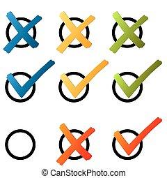 Elección: cruz y gancho colorido